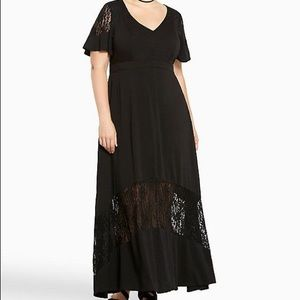 Black Challis Inset Maxi Dress